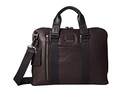 Tumi Alpha Bravo Aviano Slim Brief (Dark Brown) Briefcase Bags