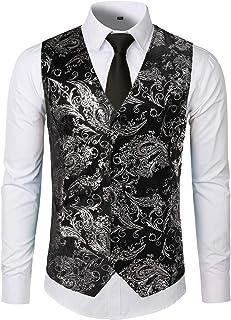 8f216f956d3 ZEROYAA Mens Hipster Metallic Paisley Printed Single Breasted V-Neck Suit  Vest Tuxedo Waistcoat