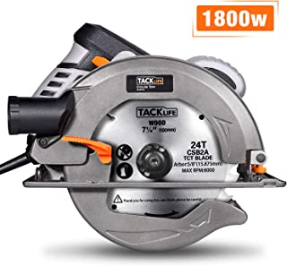 Circular Saw, TACKLIFE Upgraded 1800W 4700RPM Compact Circular Saw with 24T 7-1/2-inch(190mm) Carbide Tipped Blade, Aluminum Protective Guard