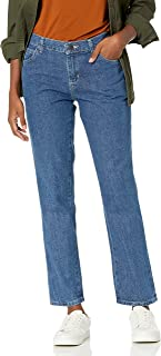 Lee Uniforms Women's Petite Relaxed Fit All Cotton Straight Leg Jean, Aero, 4
