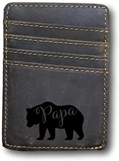 Personalized Leather wallet with money clip Papa bear RFID engraving custom name or initials