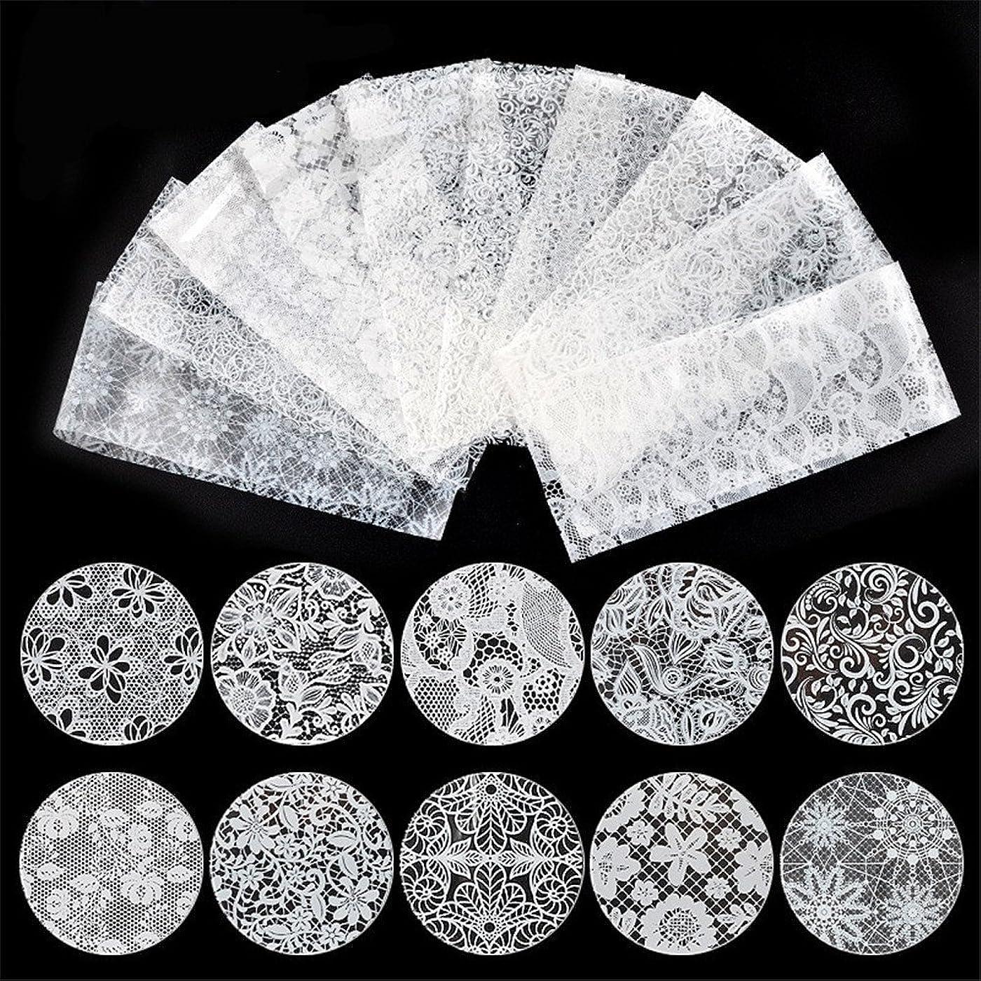 飾るフクロウ旅10種セット 黒白2色から選べレースネイルホイルフォイル クラッシュ ギアピーコックパータン ネイルシーツネイルパーツネイルアート (白)