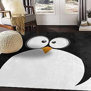 ALAZA Black Penguin Face Emoji Area Rug Rugs for Living Room Bedroom 5'3