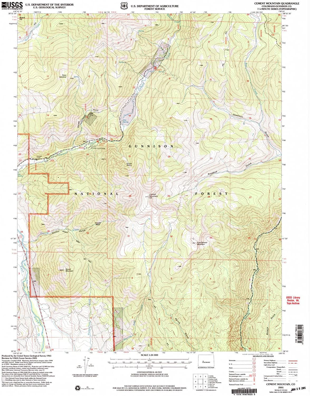 Cement Mountain CO topo map, 1 24000 Scale, 7.5 X 7.5 Minute, Historical, 2001, Updated 2004, 26.8 x 21.8 in