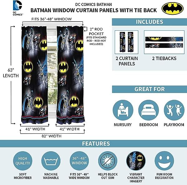 Warner Bros Batman Kids Room Window Curtain Panels With Tie Backs 82 X 63 Black