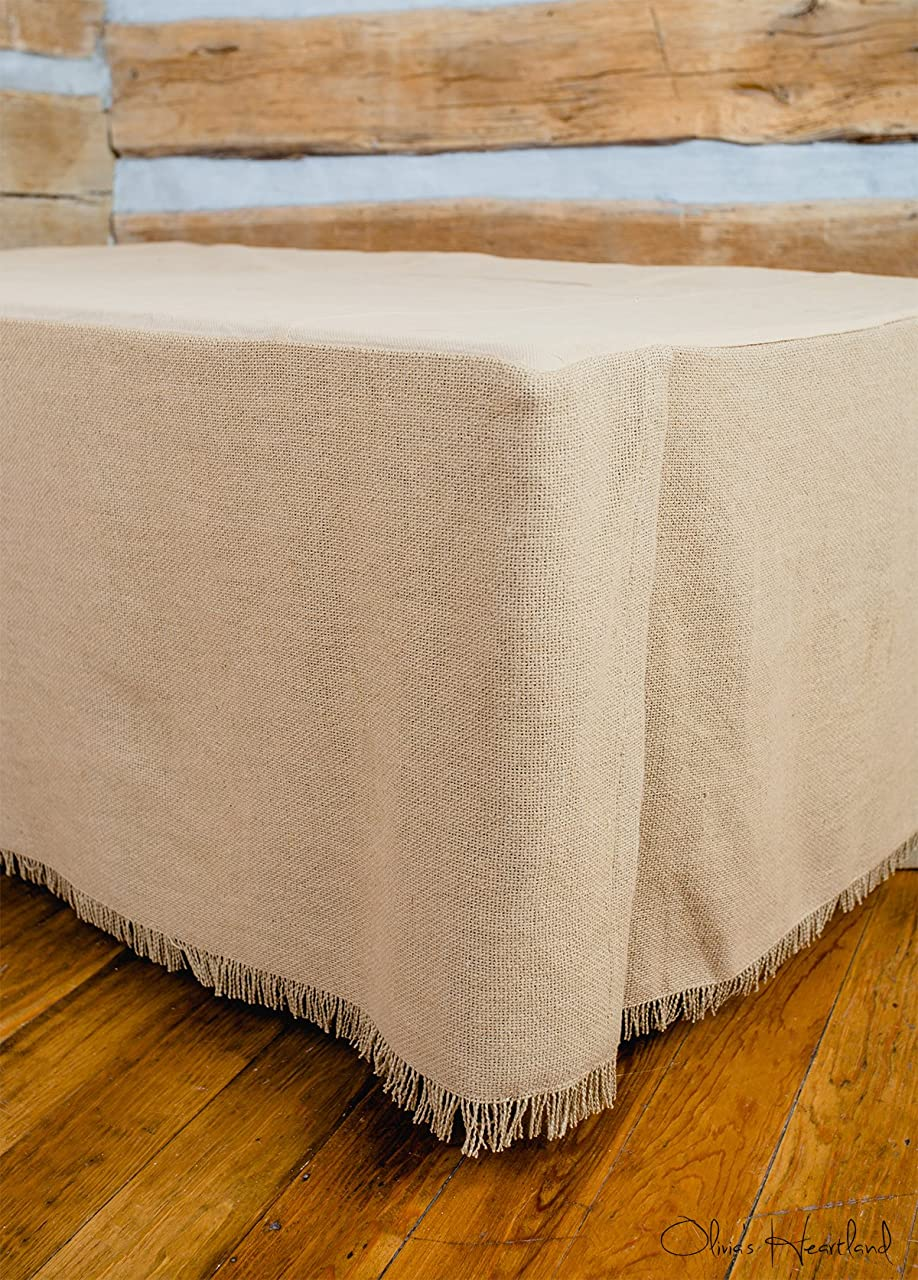 同行在庫教えるDeluxe Burlap Natural Tan Queen Bed Skirt by Olivia's Heartland