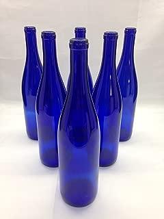 AA Bottles 6 Deep Cobalt Blue Stretch Neck Hock Flat Bottom 750ml for Bottle Trees, Crafting, Parties,Wedding Center Piece, Decor, Home Brew, Beer, Wine