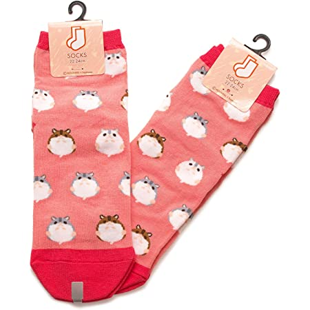 2足セット ハムスターII レディース ソックス Hamster Socks ペットとアニマルソックス Pet & Animal Socks SD-2008 ハムコ ペットラバーズ レッド