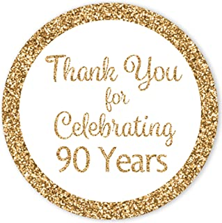 White and Gold 90th Birthday Thank You Stickers - 1.75 in - 40 Labels