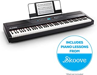 Alesis Recital Pro | Digital Piano / Keyboard with 88 Hammer Action Keys, 12 Premium Voices, 20W Built in Speakers, Headphone Output & Powerful Educational Features