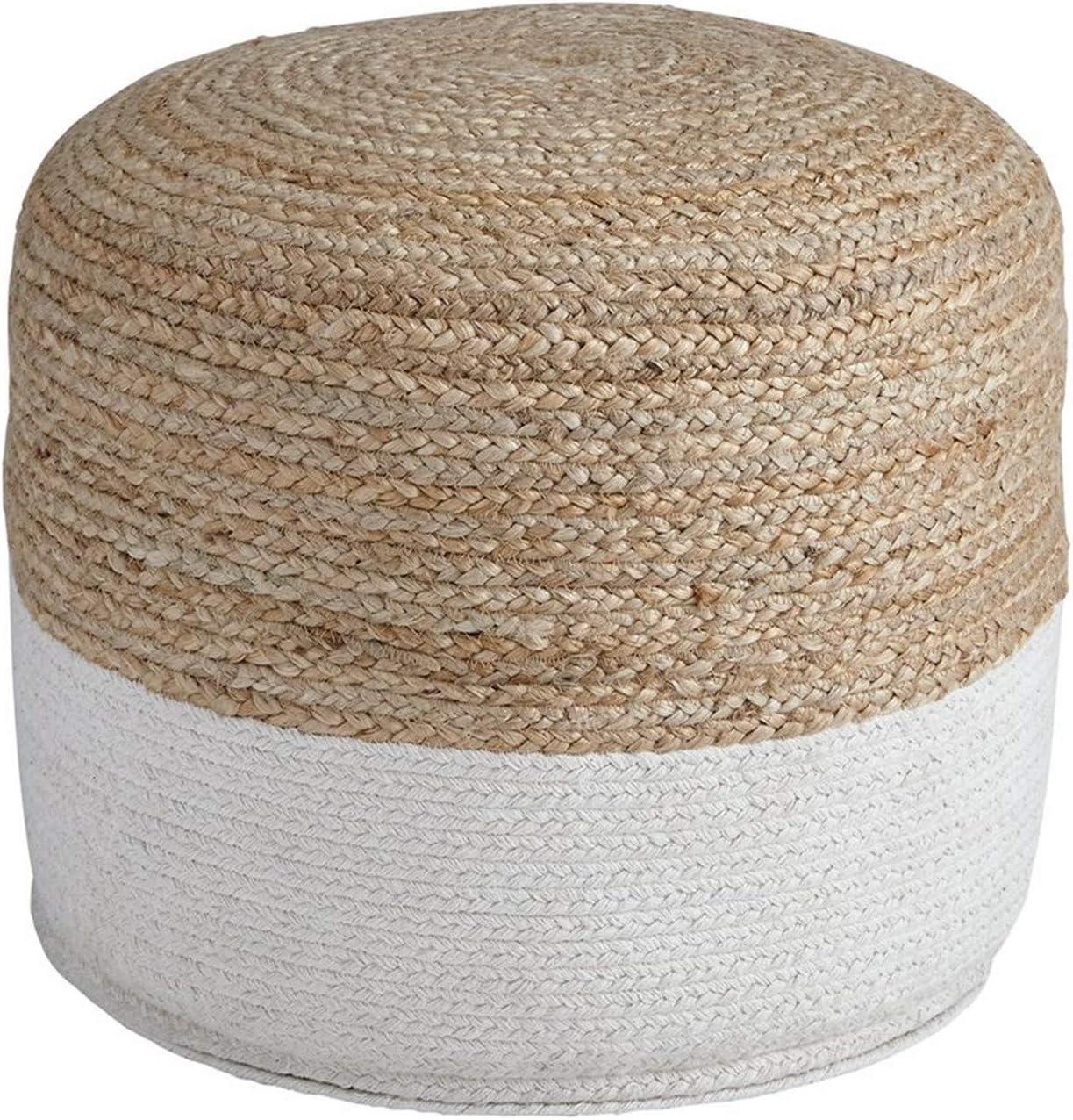 Benjara Fabric 2021 Round Pouf Very popular with Whit Jute Braided Brown Pattern