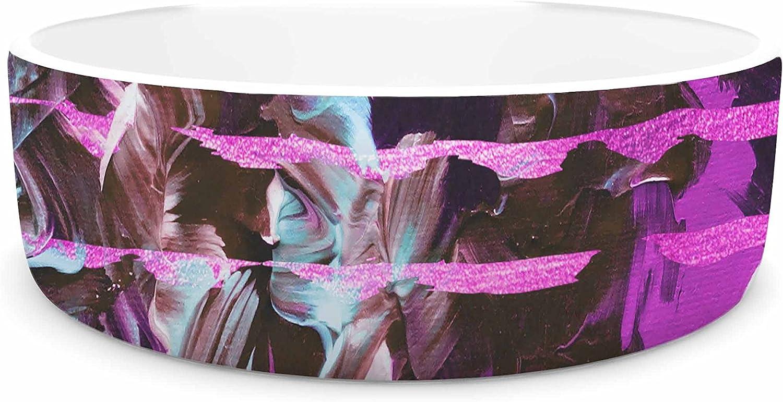 KESS InHouse EBI Emporium Fairy Dust Garden Pink Lavender Mixed Media Pet Bowl, 7  Diameter