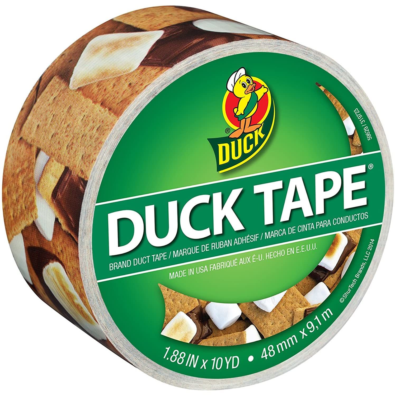 Duck Brand 283789 Printed Duct Tape, S'mores Please , 1.88 Inches x 10 Yards, Single Roll