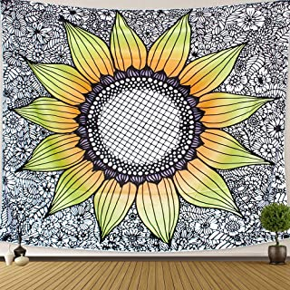 Anwiner Sunflower Tapestry Wall Hanging Yellow Flowers Plant Tapestry Bohemian Hippie Tapestry for Living Room Bedroom Dorm Room (59x 51 inches)