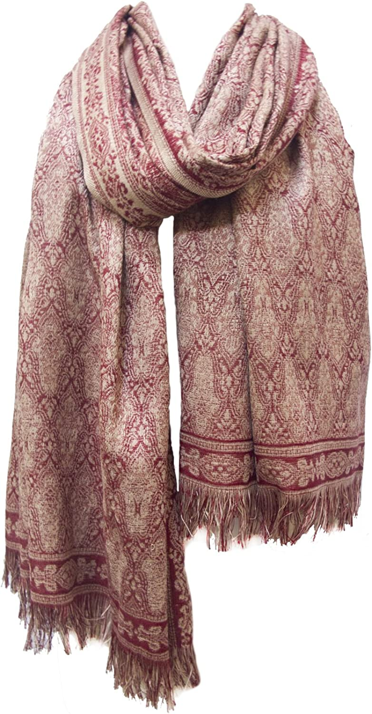 Chama Silk & Merino Wool Blend Shawl Scarf Stole Wrap Burgundy Red Camel Beige