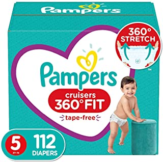 Diapers Size 5, 112 Count - Pampers Pull On Cruisers 360° Fit Disposable Baby Diapers with Stretchy Waistband, ONE MONTH S...