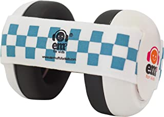 Ems for Kids Baby Earmuffs - White with Blue/White. The Original Baby Earmuffs - Made in The USA! Great for Concerts, Music Festivals, Planes, NASCAR, Motor Racing, Power Tools and More!