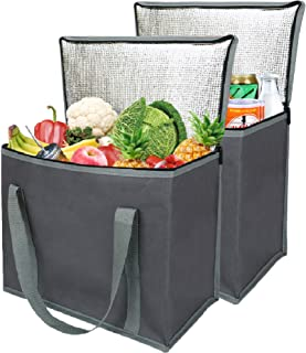 2 Insulated Reusable Grocery Shopping Bags, Xl, Large Picnic Cooler Bag Zipper Zippered Top Cold