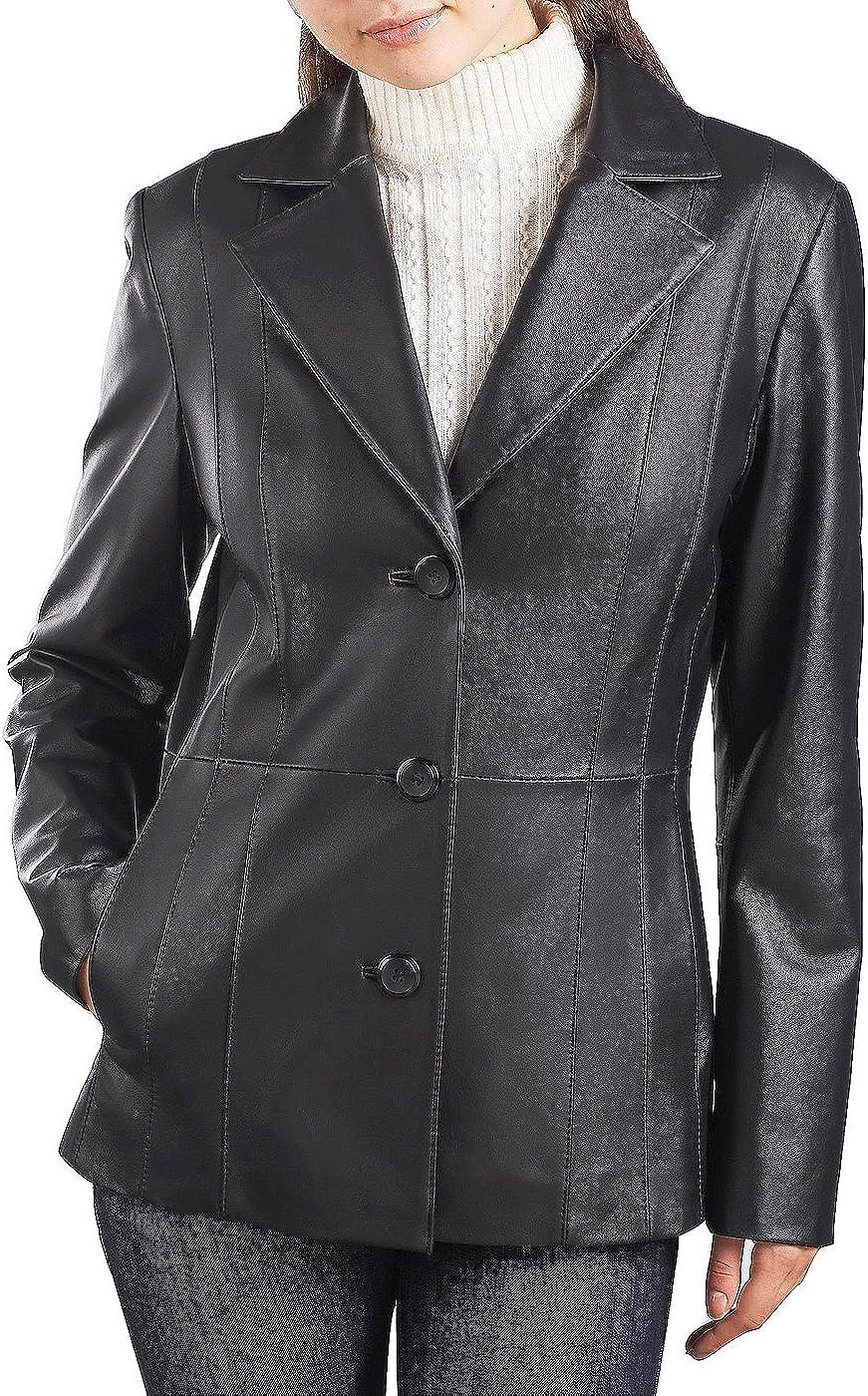 BGSD Women's Crystal Lambskin Leather Blazer (Regular & Plus Size & Petite)