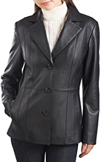 Women's Crystal Lambskin Leather Blazer (Regular and Plus Size and Short)
