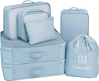 مجموعة من 7 قطع من تيانزونج، حقائب سفر للأمتعة، منظمات التعبئة مع حقيبة أحذية (أزرق فاتح)