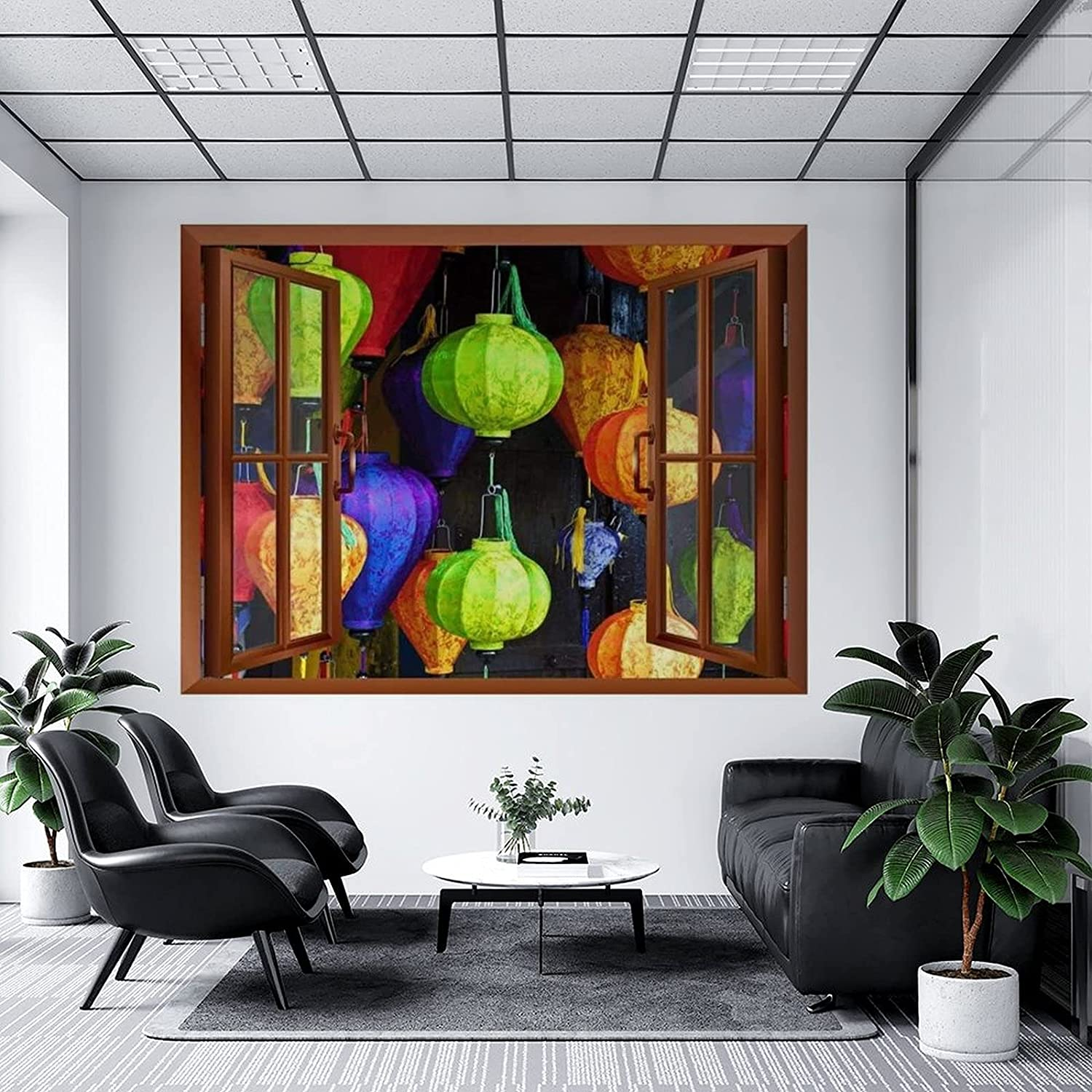 Max 61% OFF Open Window Wall Mural Colorful Lanterns Windo Fake 3D Japanese Today's only