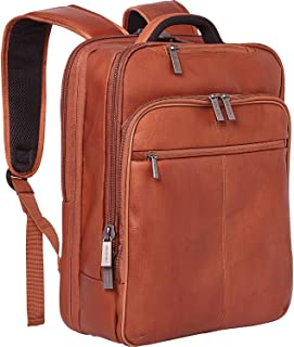 "Kenneth Cole REACTION Back-Stage Access Slim Colombian Leather TSA Checkpoint-Friendly 16"" Laptop & Tablet Travel Business Backpack, Cognac"