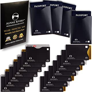 18 RFID Blocking Sleeves (14 Credit Card Holders & 4 Passport Protectors) Ultimate Premium Identity Theft Protection Sleev...