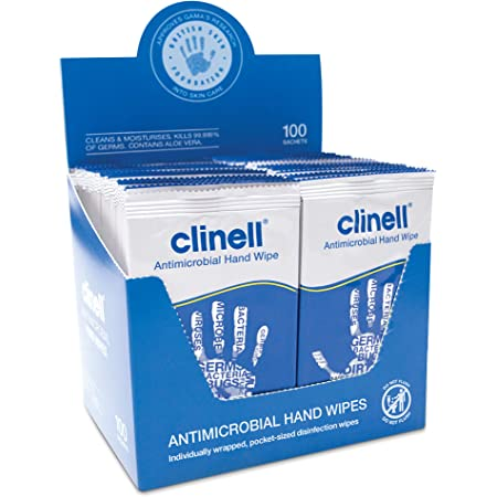 Clinell Antimicrobial Hand Wipes Ideal for Travel - Pack of 100 Sachets - Dermatologically Tested, Kills 99.99% of Germs