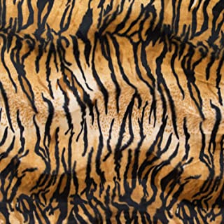 Velboa Wave Print Tiger 60 Inch Fabric by The Yard (F.E. (Gold)