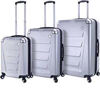 Mia Toro Italy Accadia Hardside Spinner Luggage 3 Piece Set, Silver, One Size