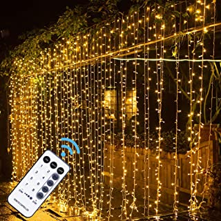 MAGGIFT 304 LED Curtain String Lights, 9.8 x 9.8 ft, 8 Modes Plug in Fairy String Light with Remote Control, Christmas, Ba...