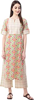 NEW4U Women's Cotton Printed Kurta With Palazzo Set