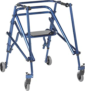 Inspired by Drive Nimbo 2G Lightweight Posterior Walker with Seat, Knight Blue, Large