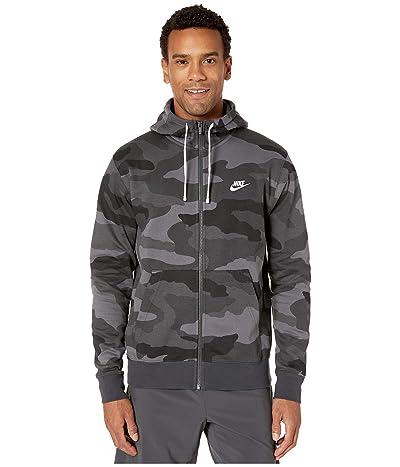 Nike NSW Club Hoodie Full Zip Camouflage (Dark Grey/Dark Grey/Summit White) Men