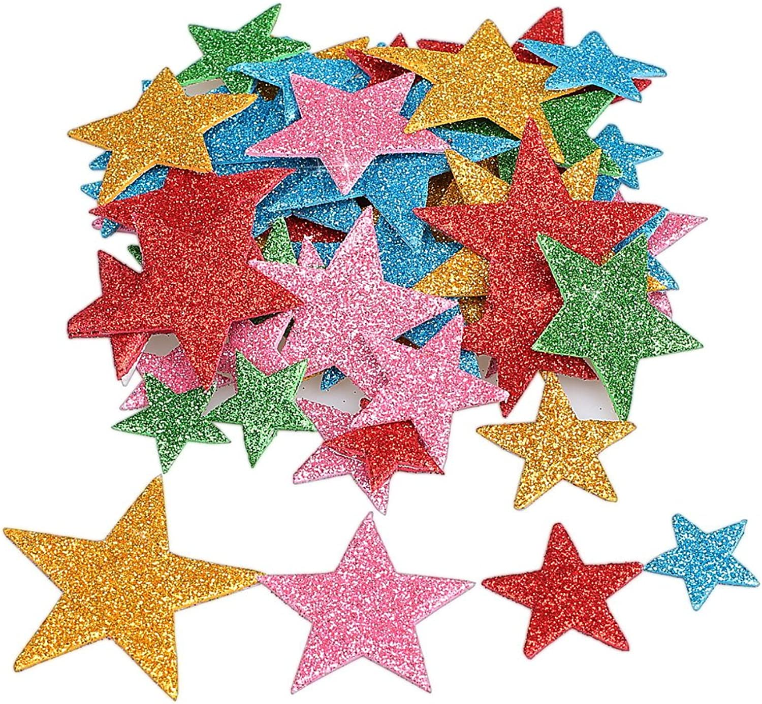 Pengxiaomei 210 Pcs Foam Glitter Stickers, Different Size colorful Self Adhesive Star Shaped Wall Stickers, Stickers Decal Kid's Arts Craft Supplies