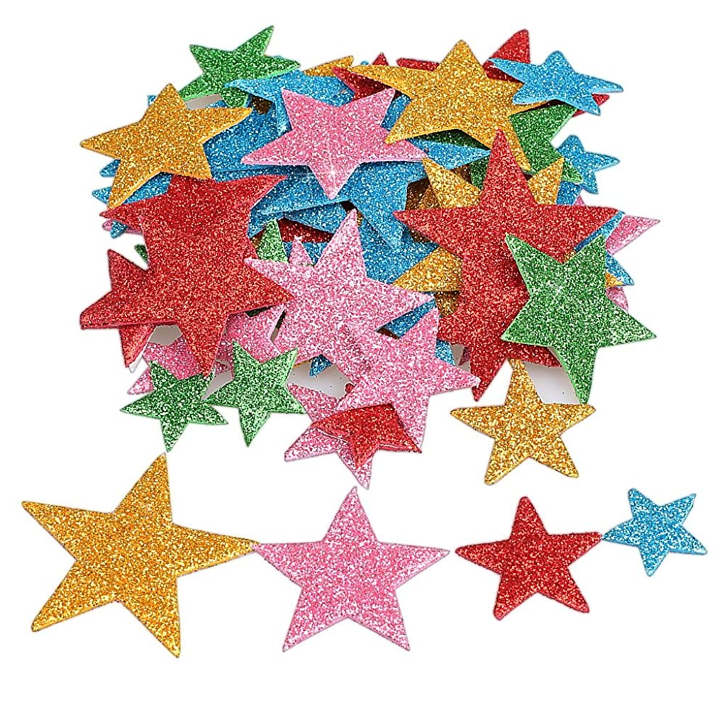 Pengxiaomei 210 Pcs Foam Glitter Stickers, Different Size Colorful Self Adhesive Star Shaped Wall Stickers, Stickers Decal for Kid's Arts Craft Supplies