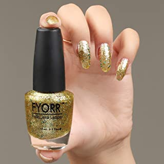 FYORR Daimond Shine Golden Sky Long Lasting Glitter Nail Paint, 15 ml