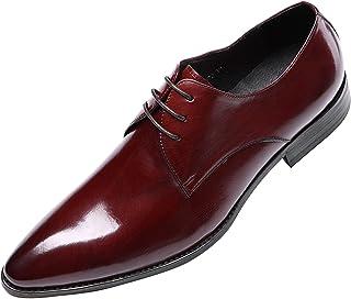 [ウォウフォ] 商標登録079889 メンズ靴 レザー ビジネスシューズ 紐 ブランド メダリオン トラッドシューズ 本革 ラグジュアリー ポインテッドトゥ プレーントゥ 結婚式 ドレスシューズ 革靴 紳士靴 オフィスシューズ 1188-072
