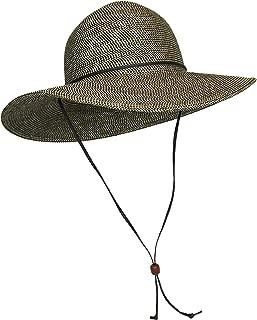 Packable Cotton Fabric Summer Sun Hat, Wide Circle Brim w/Chin Strap, UPF50+