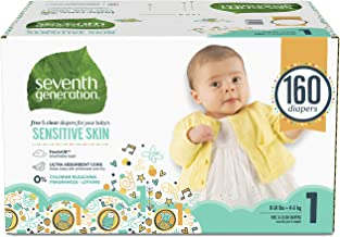 Seventh Generation Baby Diapers for Sensitive Skin, Animal Prints, Size 1, 160 Count..