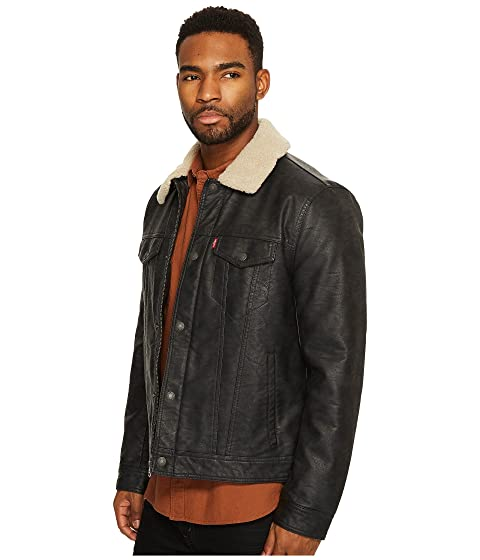 Collar Levi's® and with Polytwill Sherpa Faux Trucker Lining Leather qSRBwXzS