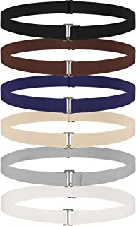 6 Pieces Invisible Belts No Show Women's Stretch Belt Adjustable Elastic Belts with Flat Buckle for Jeans Pants Dresses (F...