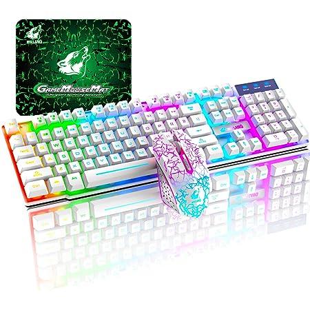 T3 Juego de teclado y ratón inalámbricos 2.4 G recargable de tacto mecánico impermeable con retroiluminación arco iris +2400 DPI ópticos de arco iris ...