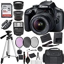 Canon EOS 4000D (Rebel T100) Digital SLR Camera w/ 18-55MM DC III Lens Kit (Black) with Essential Accessory Bundle Package Deal Includes: SanDisk 32gb Card + DSLR Bag + 50'' Tripod + More