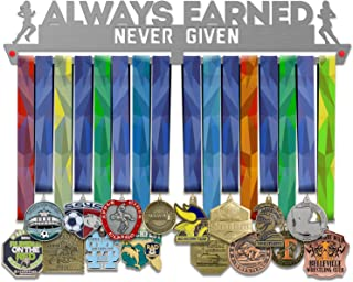 VICTORY HANGERS Always Earned Never Given Female Medal Hanger Display - Wall Mounted Award Metal Holder - 100% Stainless Steel Rack for Champions