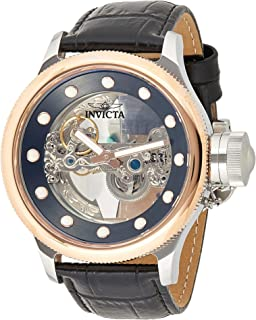 Invicta Men's 'Russian Diver' Automatic Stainless Steel and Leather Casual Watch, Color:Black (Model: 24595)