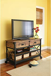 Sturdy Wooden Rustic Country Antiqued Black/Pine Panel TV Stand for TVs up to 52