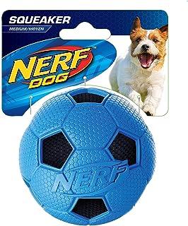 NERF DOG Soccer Crunch Squeak ball Blue - Medium, Dog Toy
