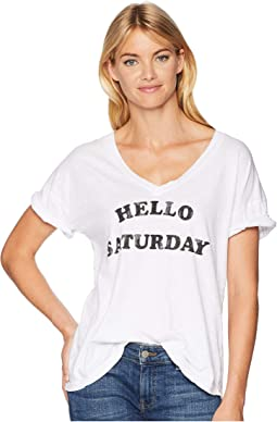 Hello Saturday Rolled Short Sleeve Slub Boyfriend V-Neck